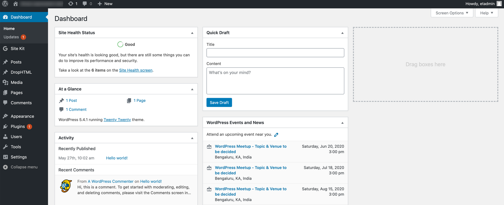 wordpress dashboard admin login dashboard