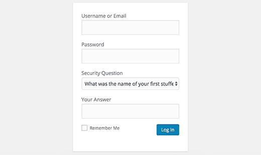 How to Add Security Questions to WordPress Login Screen - Login Screen