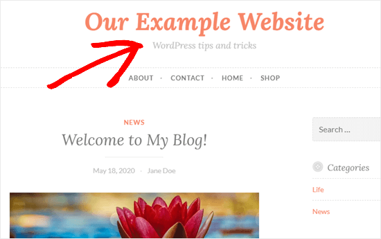 How to Change the Just Another WordPress Site Tagline. - Saved settings